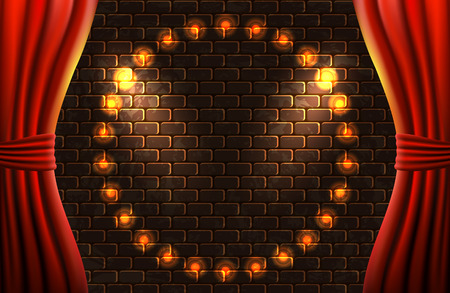 Scene with open curtains and retro glowing bulbs frame against decorative brick vintage wall with light from floodlights for sign or poster
