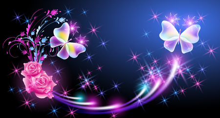 Flying two fantasy butterflies with pink roses and sparkle stars Illustration