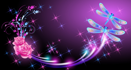 Flying two fantasy dragonfly with pink roses and sparkle stars