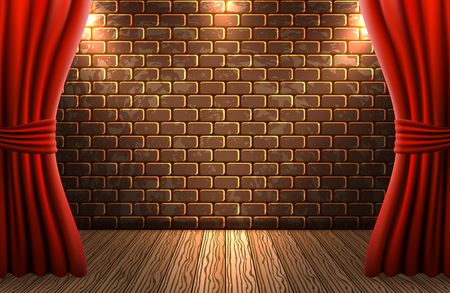 Scene with open curtains against decorative brick vintage wall and wooden floor with light from floodlights for signboard or poster Illustration