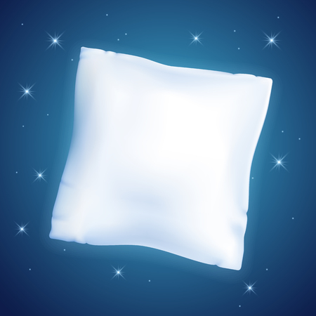White feather pillow for sleeping  against the starry night sky