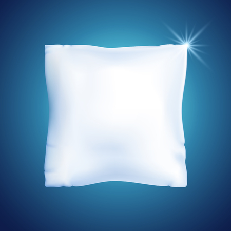 White feather pillow for sleeping against the blue background