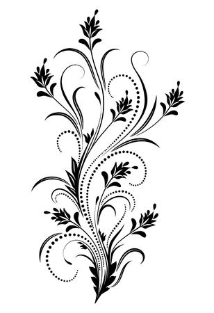 Decorative floral ornament in retro style isolated on white background Ilustração Vetorial