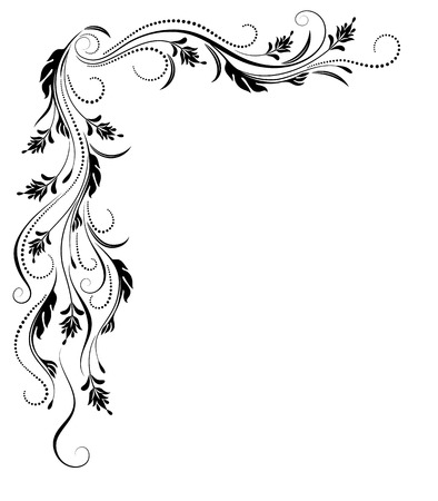 Decorative corner ornament in retro style isolated on white background