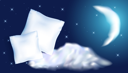 Two white feather pillow for sleeping against the starry night sky, moon and cloud