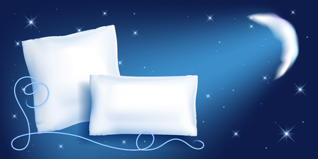 Two white feather pillow for sleeping against the starry night sky, moon and corner ornament Иллюстрация