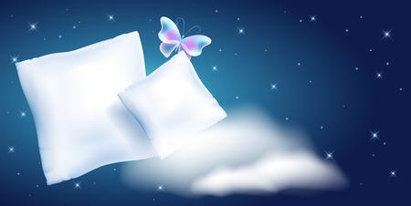 Due cuscini di piume bianche per dormire contro il cielo notturno stellato e le nuvole Vettoriali