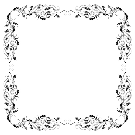 Decorative vintage frame with floral ornament in retro style isolated on white background