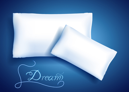 White feather pillows for sleeping and neon inscription