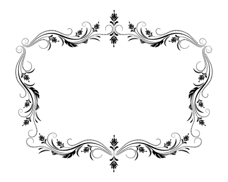 Decorative vintage frame with  luxurious floral ornament in retro style isolated on white background