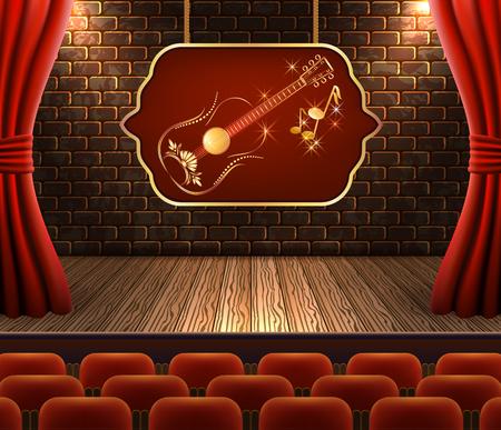 Konzertsaal mit Stuhlreihen. Szene mit offenen Vorhängen und goldener Gitarre auf Schild gegen dekorative Backstein-Vintage-Wand und Holzboden mit Licht von Flutlichtern für Plakat oder Werbung