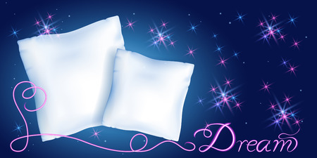 """White feather pillows for sleeping against the starry night sky and neon inscription """"Dream"""""""