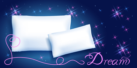 White feather pillows for sleeping against the starry night sky and neon inscription Dream Иллюстрация