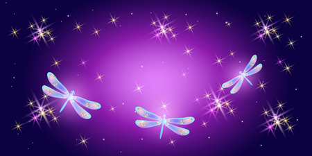 Fantasy magical background with cosmic sparkle stars and fabulous dragonflies