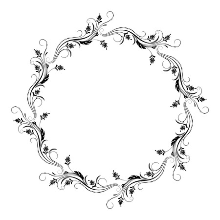 Decorative vintage round frame with floral ornament in retro style isolated on white background Ilustração Vetorial