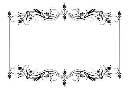 Decorative vintage frame with floral ornament in retro style isolated on white background Ilustração Vetorial