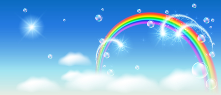 Rainbow with firework and clouds in the blue sky and bubbles