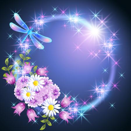 Cadre rond néon avec libellule et marguerite des prés et fleurs de cloches avec des étoiles brillantes Vecteurs