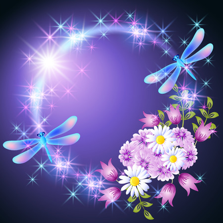 Neon round frame with two dragonfly and meadow daisy and bells flowers with glowing stars