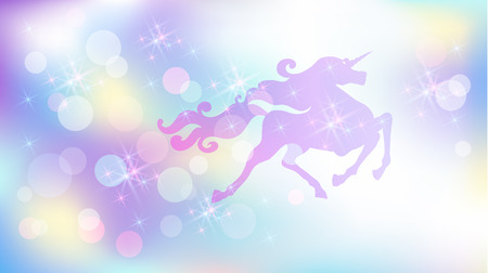Galloping unicorn with luxurious winding mane against the background of the iridescent universe with sparkling stars