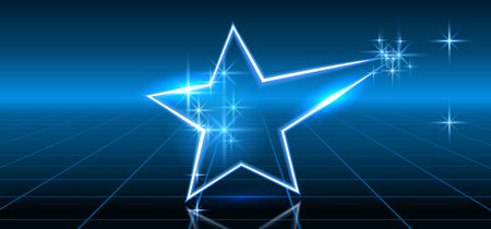 Abstract fantastic background with neon geometric star and space portal into another dimension