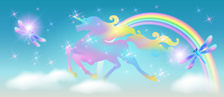 Rainbow in the clouds sky and galloping unicorn with luxurious winding mane against the background of the iridescent universe with sparkling stars and dragonfly Ilustração
