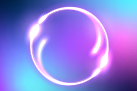 Abstract colorful fantastic background with neon round frame and space portal into another dimension