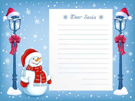 Layout letter to Santa Claus with cartoon funny Snowman in santa hat and Christmas vintage streetlamp with red bow