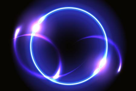 Abstrait fantastique avec cadre rond néon et portail spatial dans une autre dimension