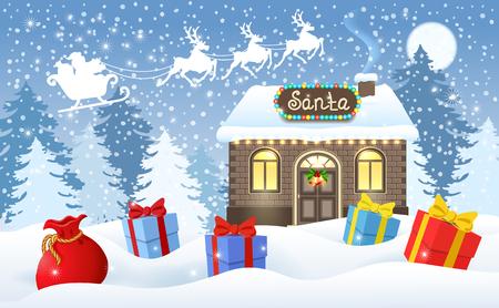 Cartolina di Natale con casa di mattoni e officina di Babbo Natale e scatole regalo su sfondo di foresta invernale e Babbo Natale in slitta con squadra di renne che volano nel cielo lunare. Cartolina di design di Capodanno. Vettoriali