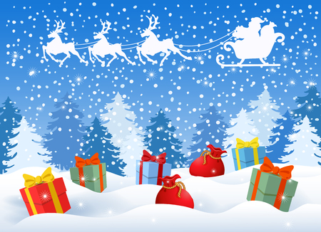 Carte de Noël avec des coffrets cadeaux sur fond de forêt d'hiver et Père Noël en traîneau avec une équipe de rennes volant dans le ciel. Carte postale de conception de nouvel an.
