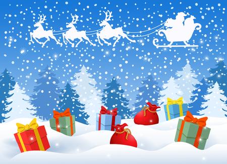 Weihnachtskarte mit Geschenkboxen vor Winterwaldhintergrund und Weihnachtsmann im Schlitten mit Rentierteam, das in den Himmel fliegt. Design-Postkarte des neuen Jahres.
