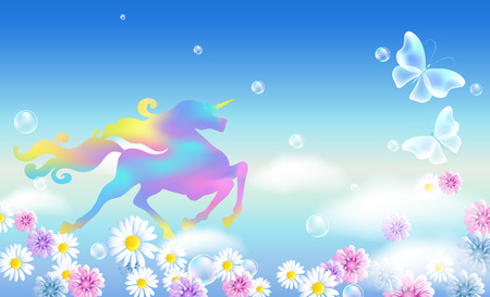 Galloping unicorn in the clouds sky with luxurious winding mane against the background of the iridescent universe with flowers and butterflies