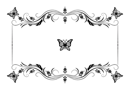 Decorative vintage frame with floral ornament and butterfly in retro style isolated on white background Ilustração Vetorial