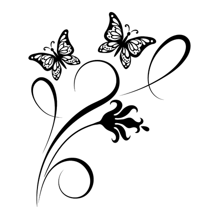 Decorative floral corner ornament with flowers and butterfly for stencil isolated on white background