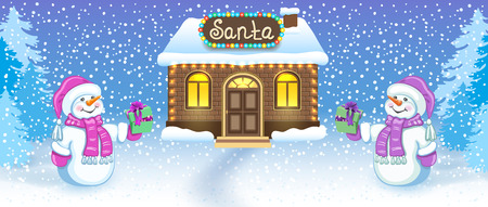 Christmas card with two funny Snowmen in Santa cap with gift box against winter forest background and Santa's workshop house. New Year design postcard.