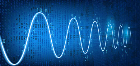 Schedule tracking of processor status, disk monitoring, CPU indicator or RAM on binary code background. Graph harmonic damped oscillations. Vector Illustration