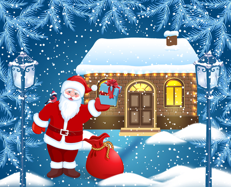 Christmas card with Ð¡artoon Santa Claus and red bag and gift box in his hand and bullfinch on his shoulder against  brick house and winter forest background  and vintage streetlamps