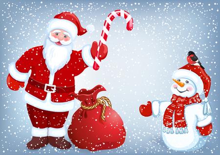 Le Père Noël donne une canne à rayures en bonhomme de neige dans le contexte des chutes de neige. Carte postale de conception de Noël ou du nouvel an.