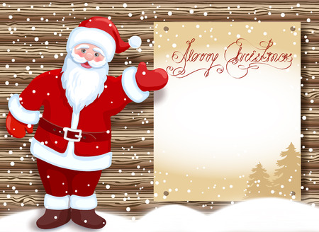 Cartoon Santa Claus hold celebratory Christmas background for layout letter with list wish to Santa Claus or announcement presentation against timbered wall background and congratulation poster