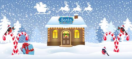 Weihnachtsbanner mit Weihnachtshauswerkstatt, Zuckerstange und Geschenkbox vor Winterwaldhintergrund und Weihnachtsmann im Schlitten mit Rentierteam. Design-Postkarte des neuen Jahres. Vektorgrafik