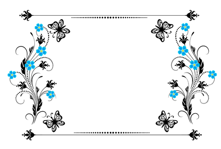 Set vintage ornament with forget me not flowers, frame and decorative divider for greeting card, invitation postcard or congratulation text