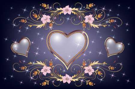 Decorative pearl heart with golden floral ornament and sparkle stars