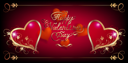 Card with decorative hearts, vintage ornament and handwriting romantic calligraphic lettering