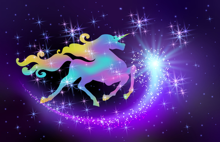 Starlit sky and galloping iridescent unicorn with luxurious winding mane against the background of the fantasy universe with sparkling stars and flying comet
