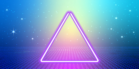 Abstract cosmic background with fantastic hyperspace, neon triangle and space portal into another dimension. Virtual reality fantastic landscape with binary code.