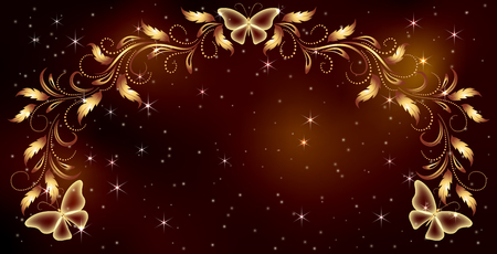 Stellar space background with magical butterflies and luxurious golden ornament