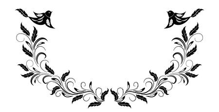 Marco vintage con adornos florales y pájaros de paloma para tarjetas de felicitación, invitación o texto de saludo.