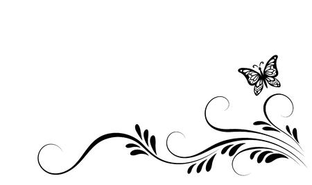 Adorno floral de esquina vintage con mariposa voladora para tarjeta de felicitación, invitación o texto de saludo Ilustración de vector