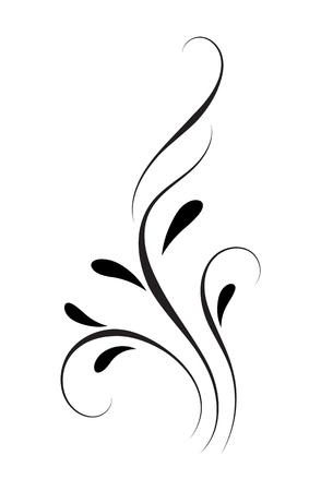 Ornamento de esquina floral decorativo para plantilla aislado sobre fondo blanco.